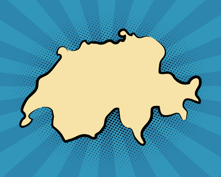retro map of Switzerland. stylized drawn concept
