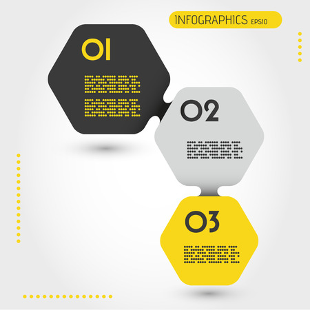 blank magazine: infographic template,  three hexagonal stickers Illustration