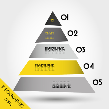 blank magazine: infographic pyramid, five options with triangle Illustration