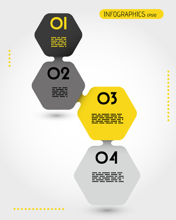 blank magazine: infographic template, hexagonal concept