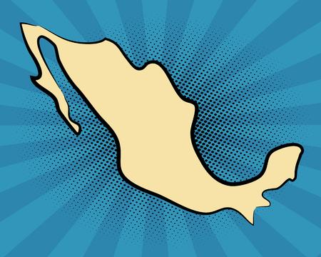 メキシコのレトロな地図は。様式化された地図。描かれたメキシコ  イラスト・ベクター素材