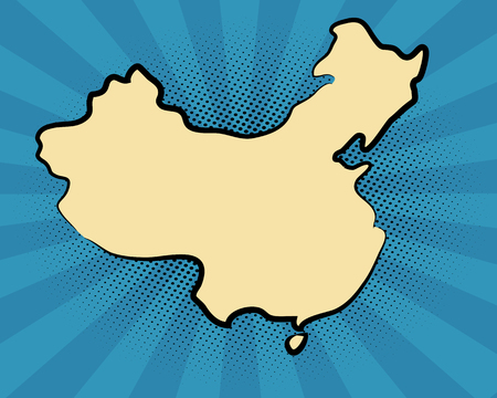 retro map of China. stylized map. drawn China. pop art concept. Illustration