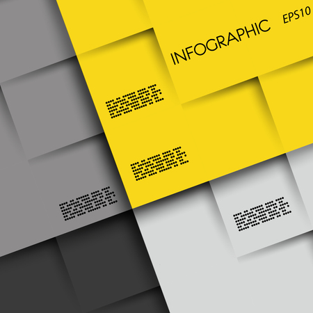 blank magazine: yellow and grey infographic background with squares, infographic concept