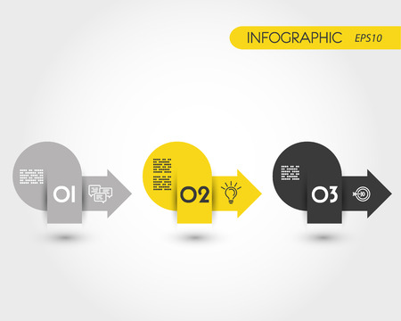 blank magazine: infographic arrows, three yellow pointers