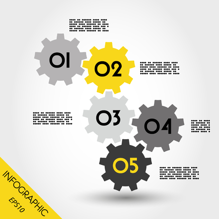 blank magazine: five yellow full infographic gears, infographic concept