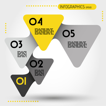 blank magazine: yellow rounded infographic triangles