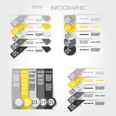blank magazine: yellow infographic template, five options