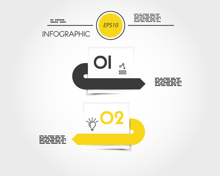 yellow two infographic squares with arrows, stickers concept