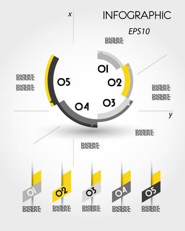 yellow infographic ring template, abstract concept 向量圖像