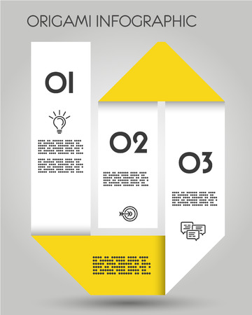 yellow origami tall infographic template, paper concept 向量圖像