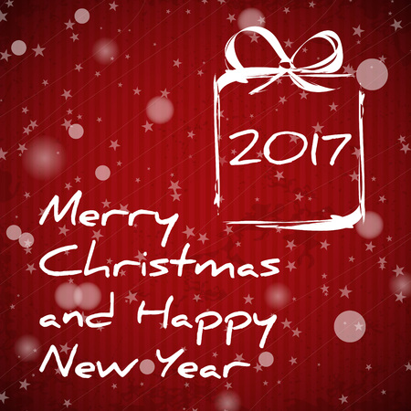 red christmas card with gift 2017, greeting concept