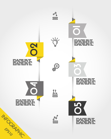 yellow infographic origami stickers with icons, timeline concept 向量圖像