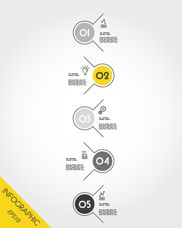 yellow timeline with circle options, five options
