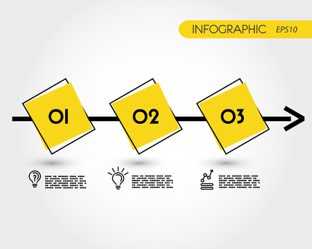 yellow timeline with squares, three options