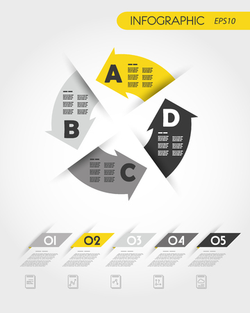 yellow infographic template with arrows in circle, four options
