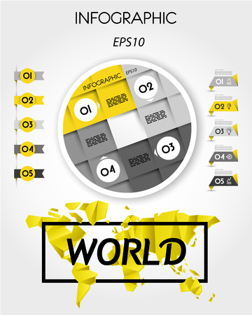 yellow infographic template with ring, concept with world map