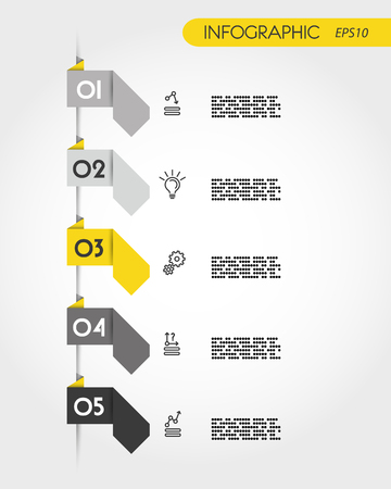yellow infographic origami arrows, five options 向量圖像