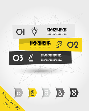 Yellow infographic three stickers with five arrows 向量圖像
