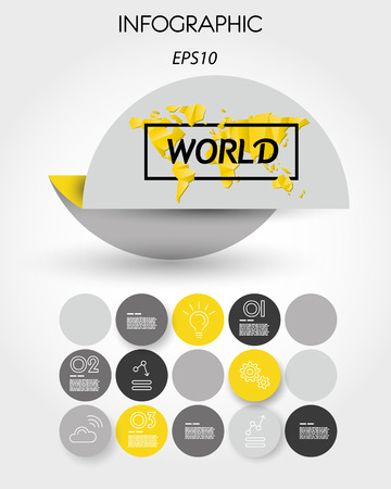 Yellow infographic element with world map in a round concept illustration.