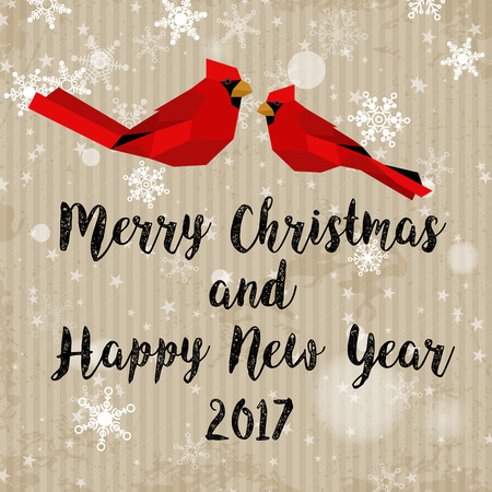 Vintage card with birds and Merry Christmas and Happy New Year greeting concept.