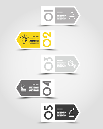 Yellow infographic concept template with arrows. 向量圖像