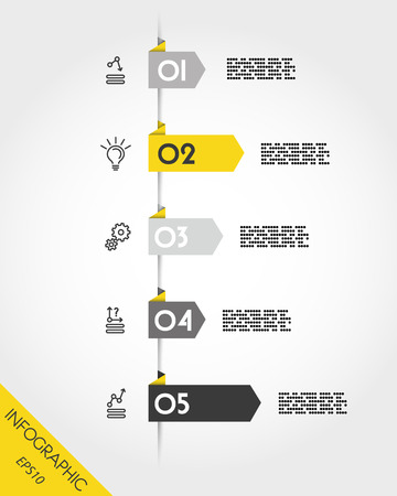 Yellow infographic arrows with icons and five options