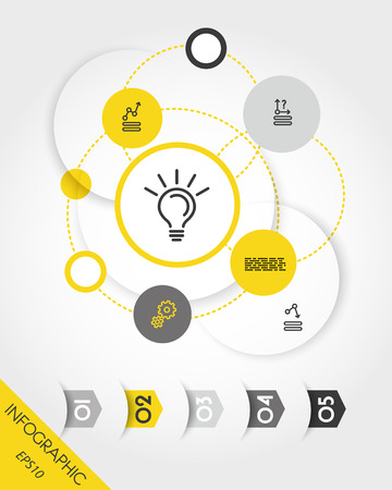 Yellow infographic set with rings and arrows