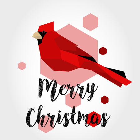 Vintage card with bird and Merry Christmas greeting concept