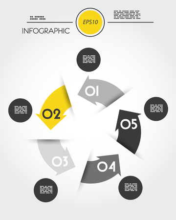 Yellow infographic circle with five options in arrow concept illustration.