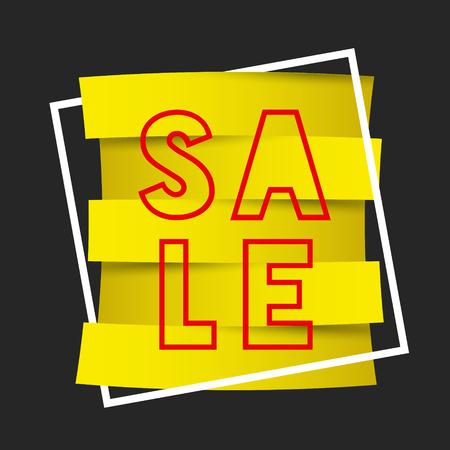 Yellow zig zag sale dark template in square concept illustration.