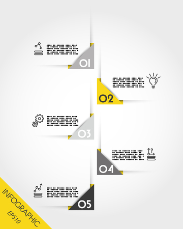 Yellow set of corner stickers in a timeline concept illustration.