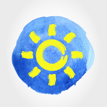 Watercolour stain with drawn sun in  holiday concept illustration.