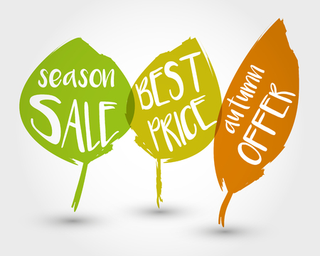 Autumn sale concept with leaves. Illustration