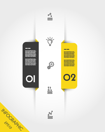 Yellow infographic markers with icons in two options.