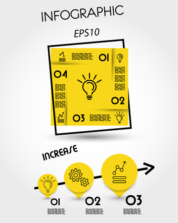 Yellow infographic template with square frame and pointers
