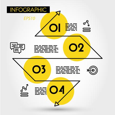 yellow linear infographic zig zag diamond, four options 向量圖像