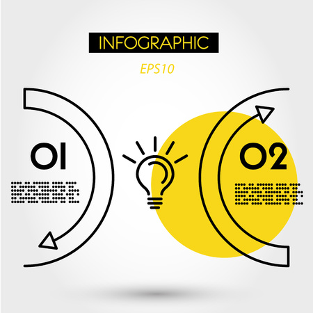 yellow linear infographics two arcs with bulb, two options Иллюстрация