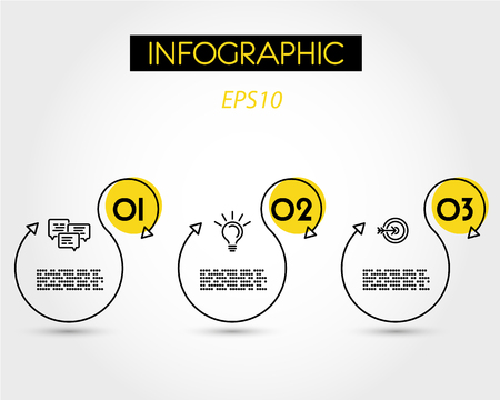 yellow linear infographic S, three options