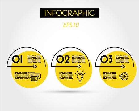 yellow linear infographic arcs with icons, three options Иллюстрация