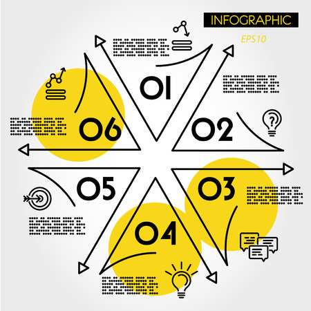 yellow linear infographic star with icons, six options
