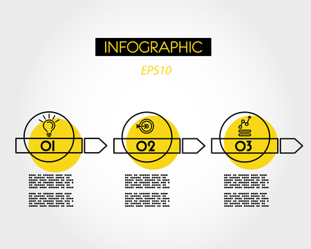 yellow linear infographic arrows with ring, outline concept