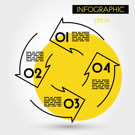 yellow four linear infographic arrows in circle, four options 向量圖像
