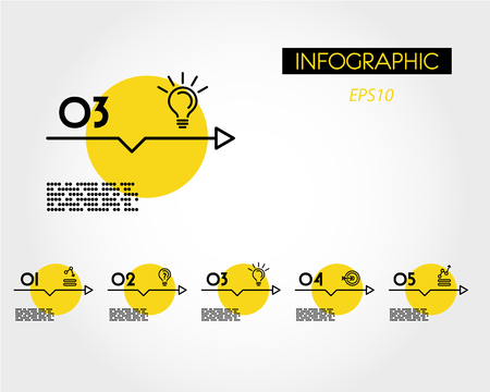 yellow linear infographic set of arrows with icons, five options 向量圖像
