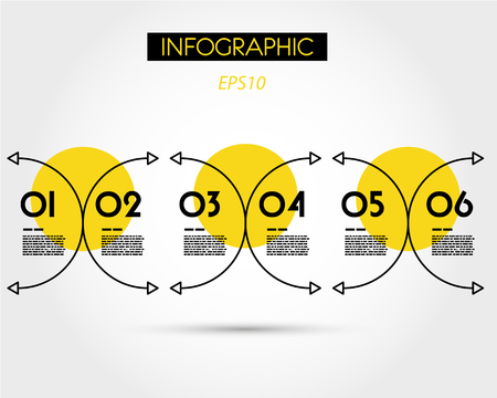 yellow linear infographic C elements, six options 版權商用圖片 - 125233680