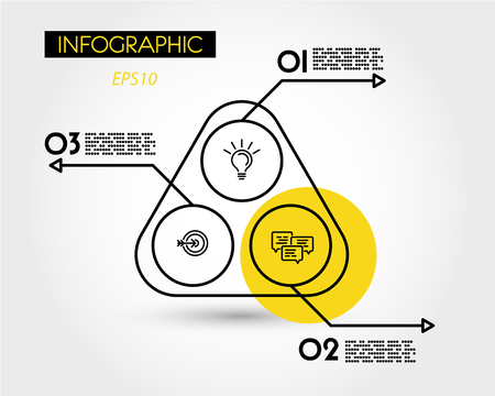 yellow rounded infographic triangle, three options