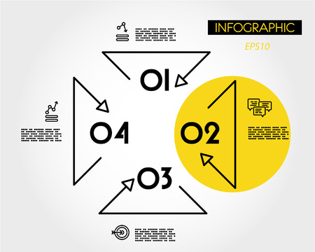 yellow linear infographic triangular template, four options