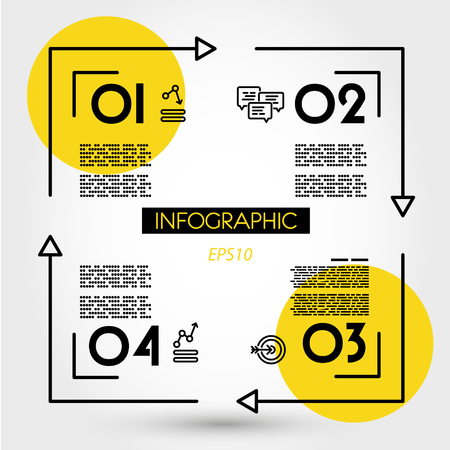 yellow linear infographics sqaure, four options 向量圖像