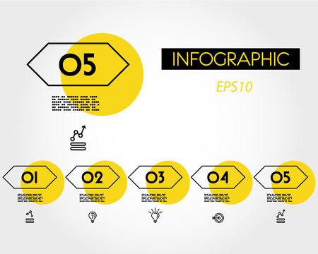 yellow linear infographic set of hexagons with icons, five options