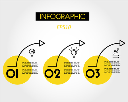 three yellow arcs, infographic options