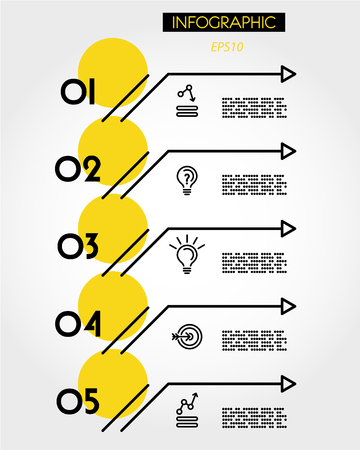 yellow linear five options with arrows, outline concept